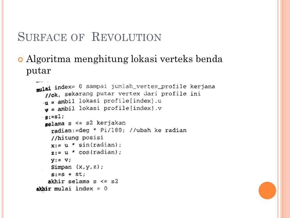 Algoritma menghitung lokasi verteks benda putar S URFACE OF R EVOLUTION