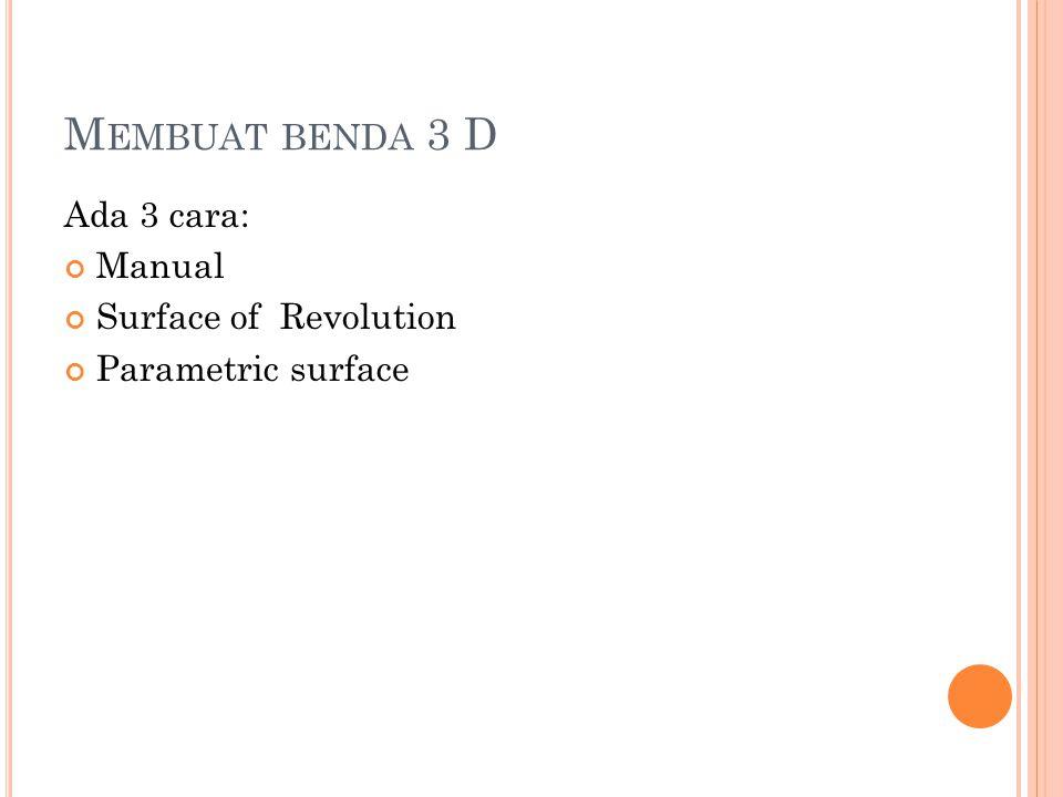 Benda putar dengan s1 = 0 ; s2 = 360 ;a = 20 dan modus wireframe S URFACE OF R EVOLUTION