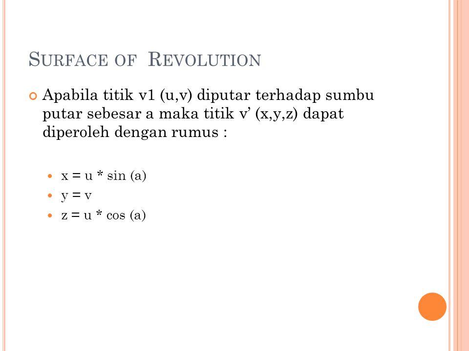 Apabila titik v1 (u,v) diputar terhadap sumbu putar sebesar a maka titik v' (x,y,z) dapat diperoleh dengan rumus : x = u * sin (a) y = v z = u * cos (a) S URFACE OF R EVOLUTION