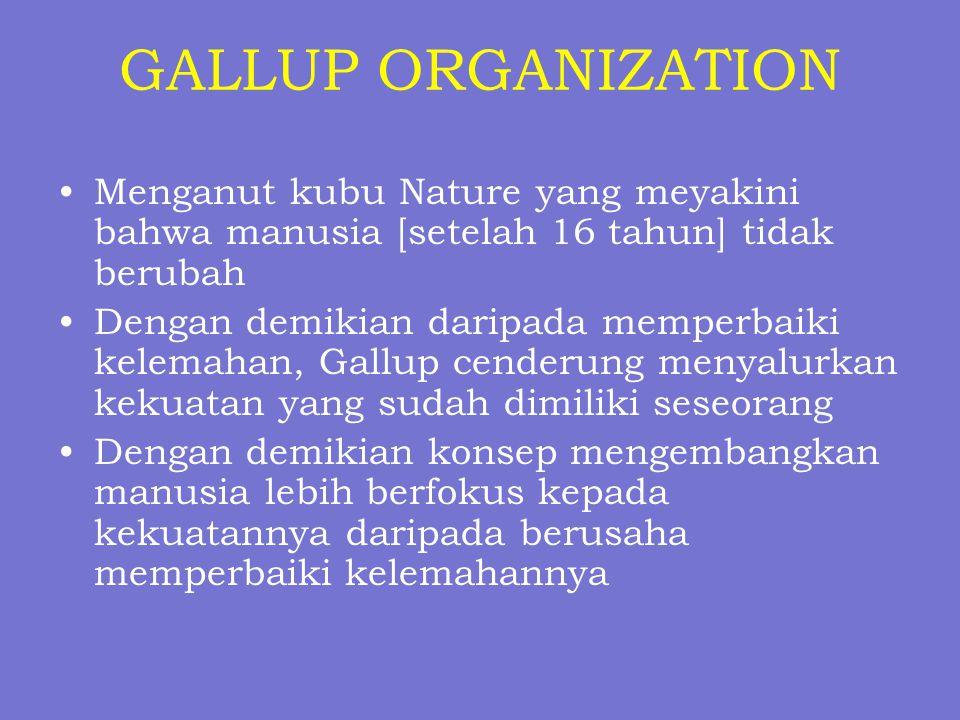 GALLUP ORGANIZATION Menganut kubu Nature yang meyakini bahwa manusia [setelah 16 tahun] tidak berubah Dengan demikian daripada memperbaiki kelemahan,
