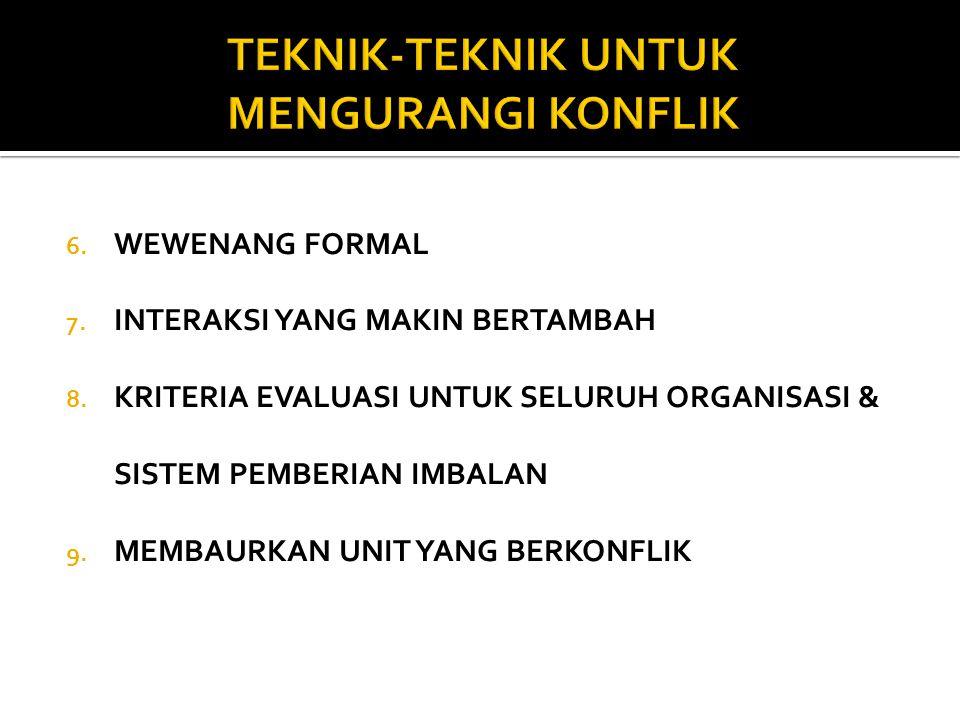 6. WEWENANG FORMAL 7. INTERAKSI YANG MAKIN BERTAMBAH 8. KRITERIA EVALUASI UNTUK SELURUH ORGANISASI & SISTEM PEMBERIAN IMBALAN 9. MEMBAURKAN UNIT YANG