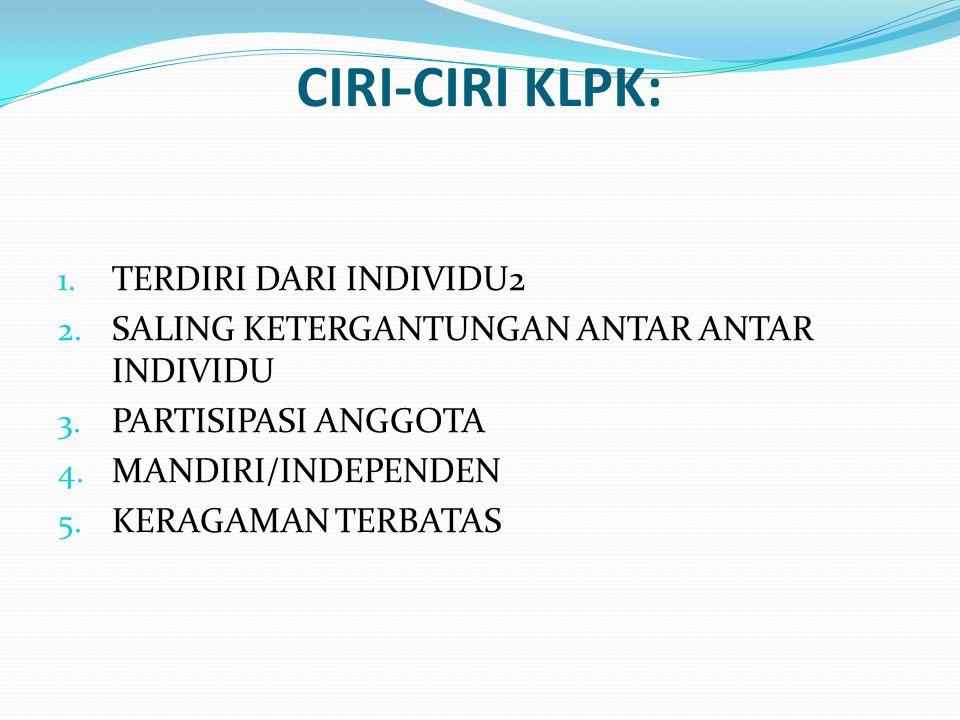 CIRI-CIRI KLPK: 1. TERDIRI DARI INDIVIDU2 2. SALING KETERGANTUNGAN ANTAR ANTAR INDIVIDU 3. PARTISIPASI ANGGOTA 4. MANDIRI/INDEPENDEN 5. KERAGAMAN TERB