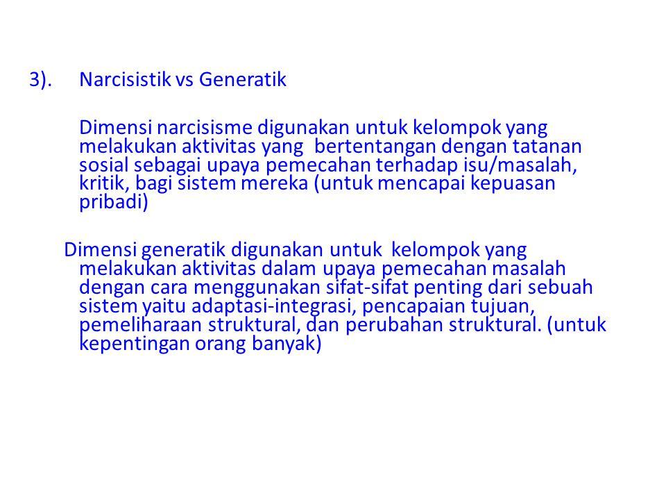 3).Narcisistik vs Generatik Dimensi narcisisme digunakan untuk kelompok yang melakukan aktivitas yang bertentangan dengan tatanan sosial sebagai upaya
