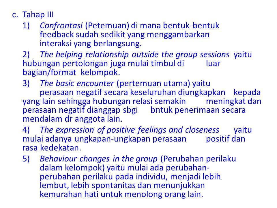 c.Tahap III 1)Confrontasi (Petemuan) di mana bentuk-bentuk feedback sudah sedikit yang menggambarkan interaksi yang berlangsung. 2)The helping relatio