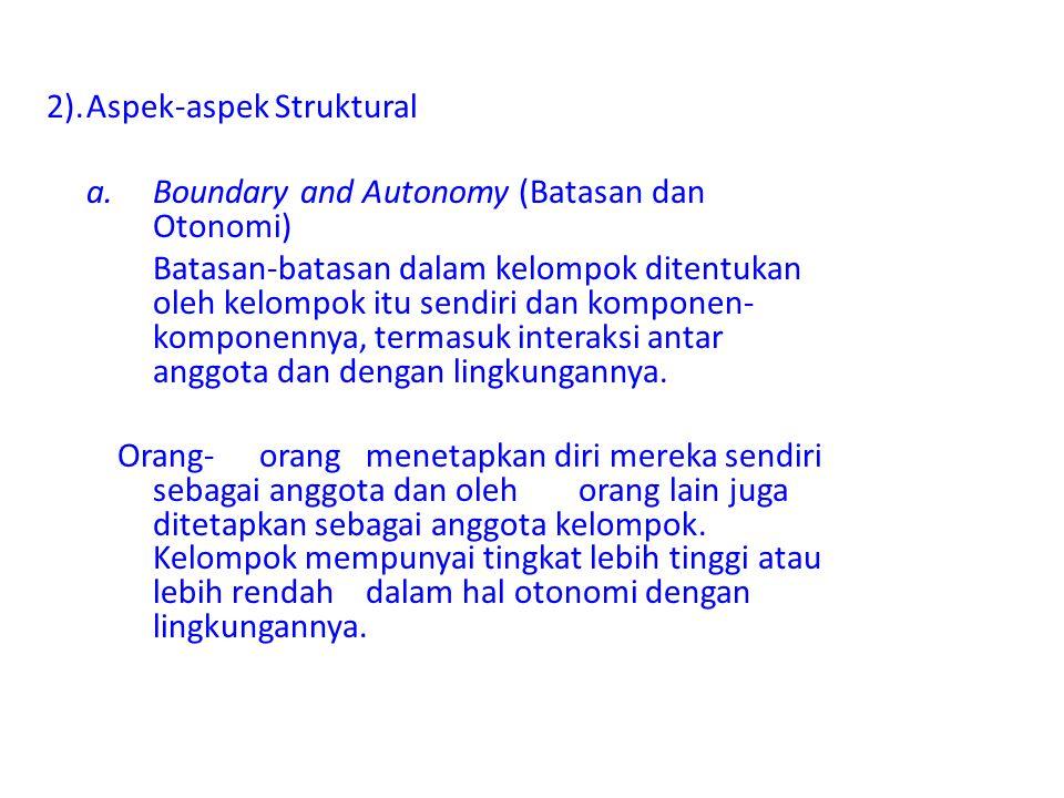 2).Aspek-aspek Struktural a.Boundary and Autonomy (Batasan dan Otonomi) Batasan-batasan dalam kelompok ditentukan oleh kelompok itu sendiri dan kompon
