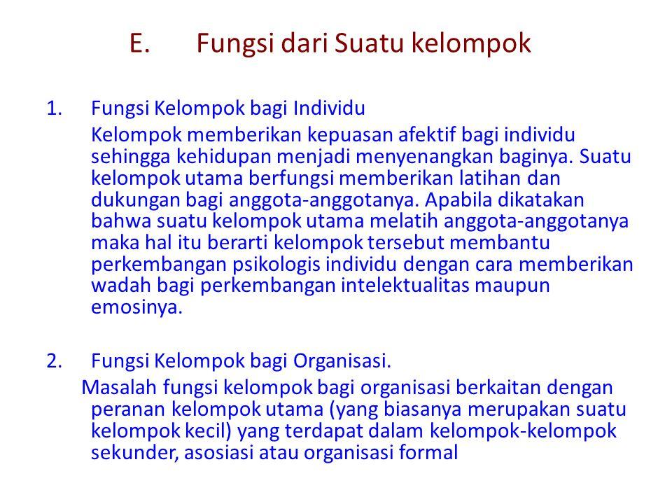 E.Fungsi dari Suatu kelompok 1.Fungsi Kelompok bagi Individu Kelompok memberikan kepuasan afektif bagi individu sehingga kehidupan menjadi menyenangka