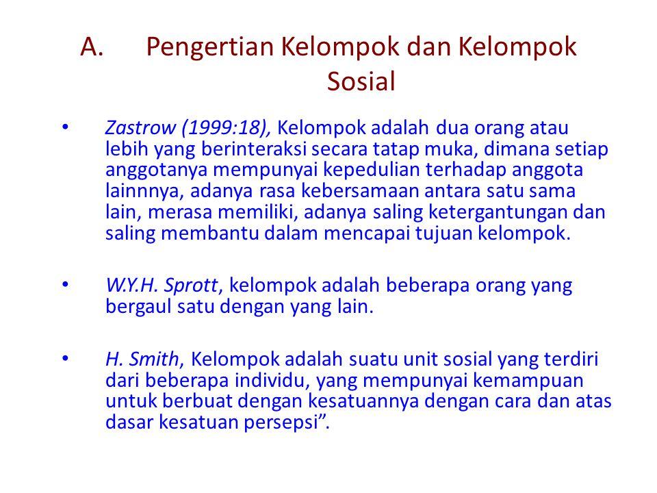 A.Pengertian Kelompok dan Kelompok Sosial Zastrow (1999:18), Kelompok adalah dua orang atau lebih yang berinteraksi secara tatap muka, dimana setiap a