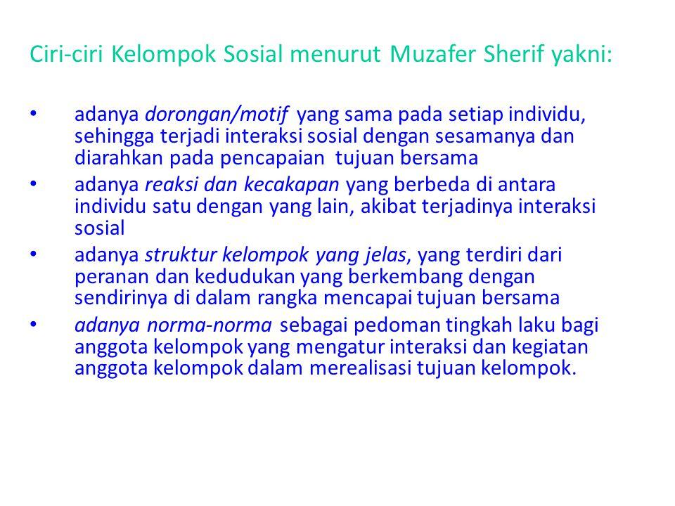 Ciri-ciri Kelompok Sosial menurut Muzafer Sherif yakni: adanya dorongan/motif yang sama pada setiap individu, sehingga terjadi interaksi sosial dengan
