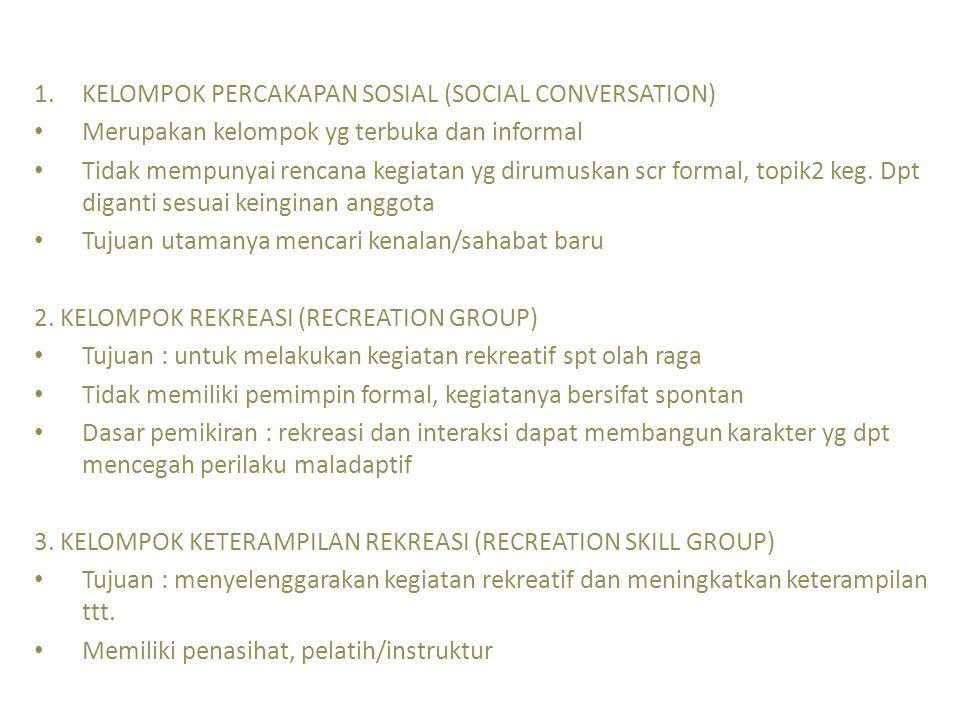 1.KELOMPOK PERCAKAPAN SOSIAL (SOCIAL CONVERSATION) Merupakan kelompok yg terbuka dan informal Tidak mempunyai rencana kegiatan yg dirumuskan scr forma