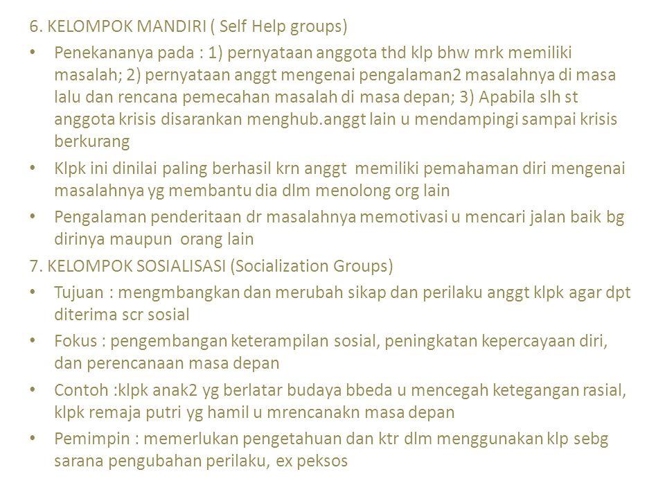 6. KELOMPOK MANDIRI ( Self Help groups) Penekananya pada : 1) pernyataan anggota thd klp bhw mrk memiliki masalah; 2) pernyataan anggt mengenai pengal