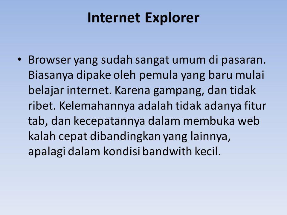 Internet Explorer Browser yang sudah sangat umum di pasaran. Biasanya dipake oleh pemula yang baru mulai belajar internet. Karena gampang, dan tidak r