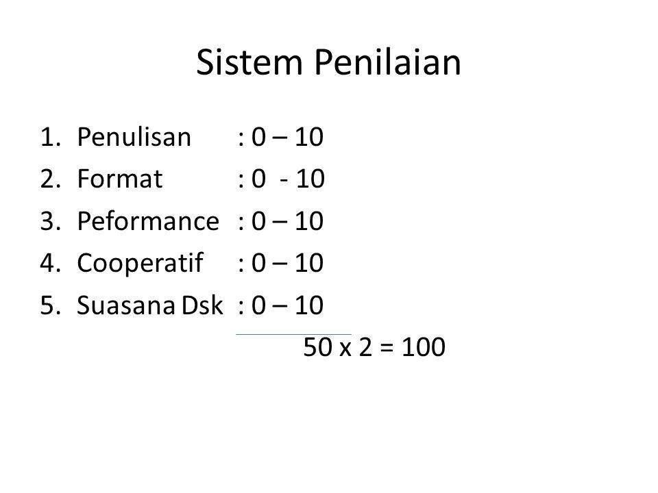 Sistem Penilaian 1.Penulisan: 0 – 10 2.Format : 0 - 10 3.Peformance: 0 – 10 4.Cooperatif: 0 – 10 5.Suasana Dsk: 0 – 10 50 x 2 = 100