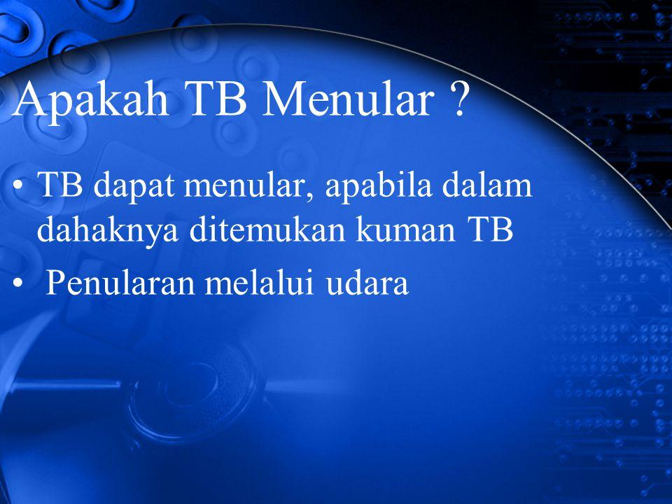 Apakah TB Menular ? TB dapat menular, apabila dalam dahaknya ditemukan kuman TB Penularan melalui udara