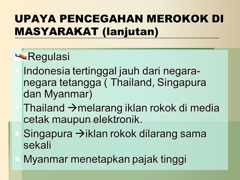 UPAYA PENCEGAHAN MEROKOK DI MASYARAKAT (lanjutan) Regulasi  Indonesia tertinggal jauh dari negara- negara tetangga ( Thailand, Singapura dan Myanmar)