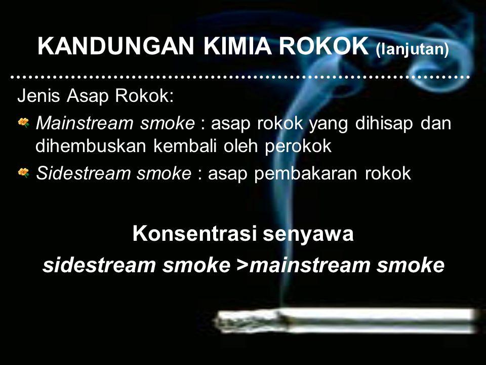 KANDUNGAN KIMIA ROKOK (lanjutan) Jenis Asap Rokok: Mainstream smoke : asap rokok yang dihisap dan dihembuskan kembali oleh perokok Sidestream smoke :