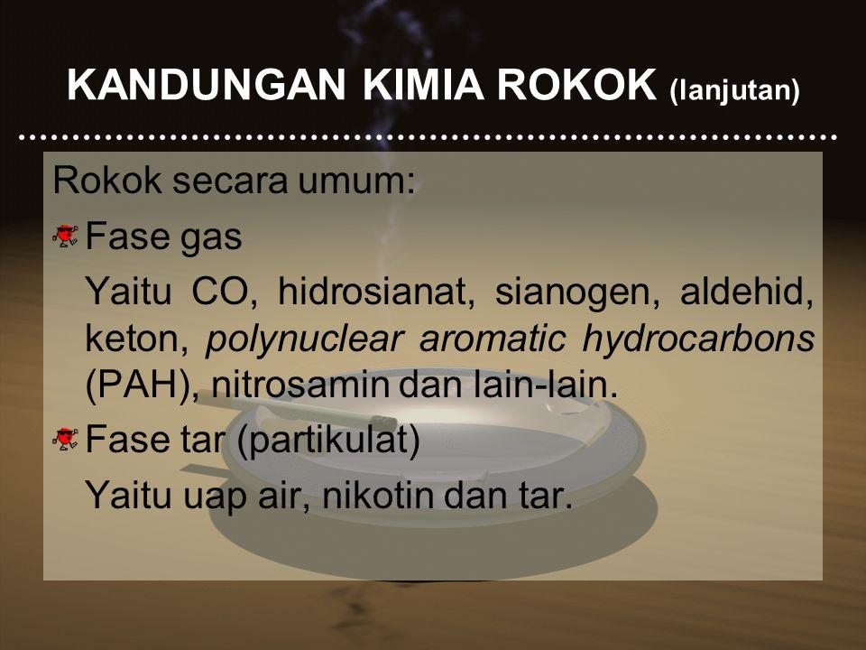 KANDUNGAN KIMIA ROKOK (lanjutan) Rokok secara umum: Fase gas Yaitu CO, hidrosianat, sianogen, aldehid, keton, polynuclear aromatic hydrocarbons (PAH),