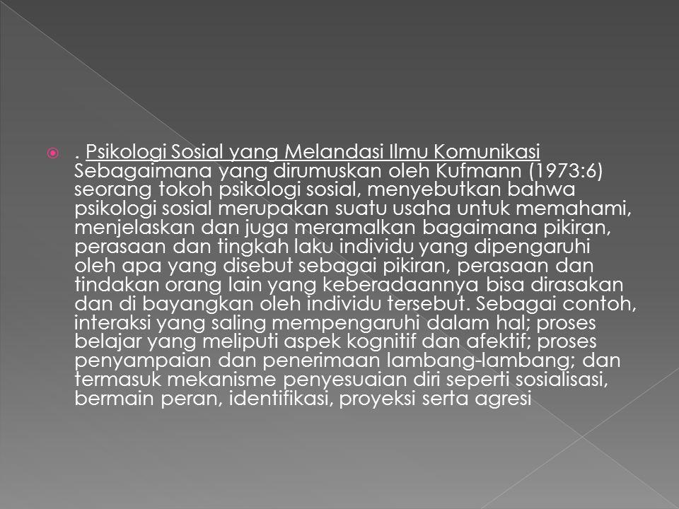 . Psikologi Sosial yang Melandasi Ilmu Komunikasi Sebagaimana yang dirumuskan oleh Kufmann (1973:6) seorang tokoh psikologi sosial, menyebutkan bahwa