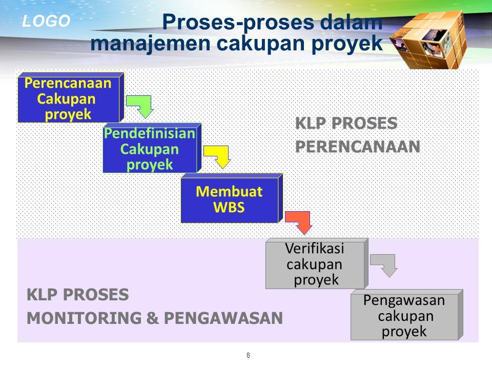 LOGO PERENCANAAN CAKUPAN PROYEK  Menyusun rencana manajemen cakupan proyek yang mendokumentasi bagaimana:  mendefinisikan, memverifikasi, dan mengendalikan cakupan proyek  membuat dan mendefinisikan work breakdown structure (WBS) 9