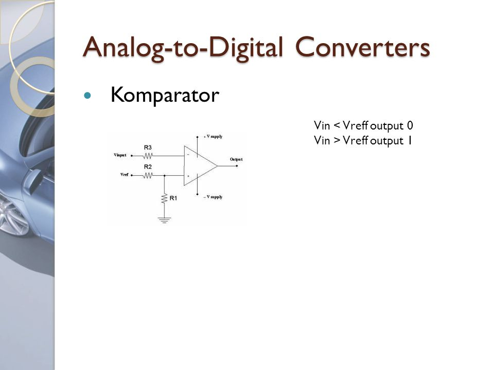 Analog-to-Digital Converters Komparator Vin < Vreff output 0 Vin > Vreff output 1