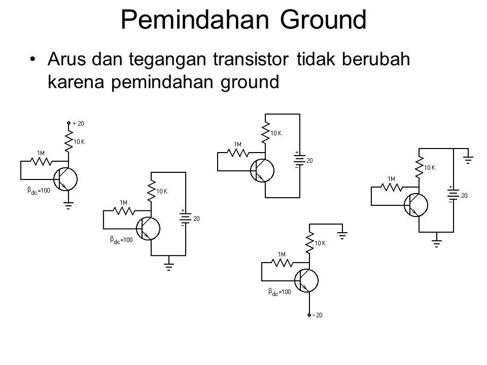 Pemindahan Ground Arus dan tegangan transistor tidak berubah karena pemindahan ground