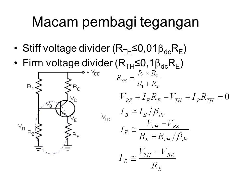 Macam pembagi tegangan Stiff voltage divider (R TH ≤0,01  dc R E ) Firm voltage divider (R TH ≤0,1  dc R E )