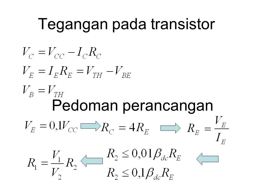 Tegangan pada transistor Pedoman perancangan