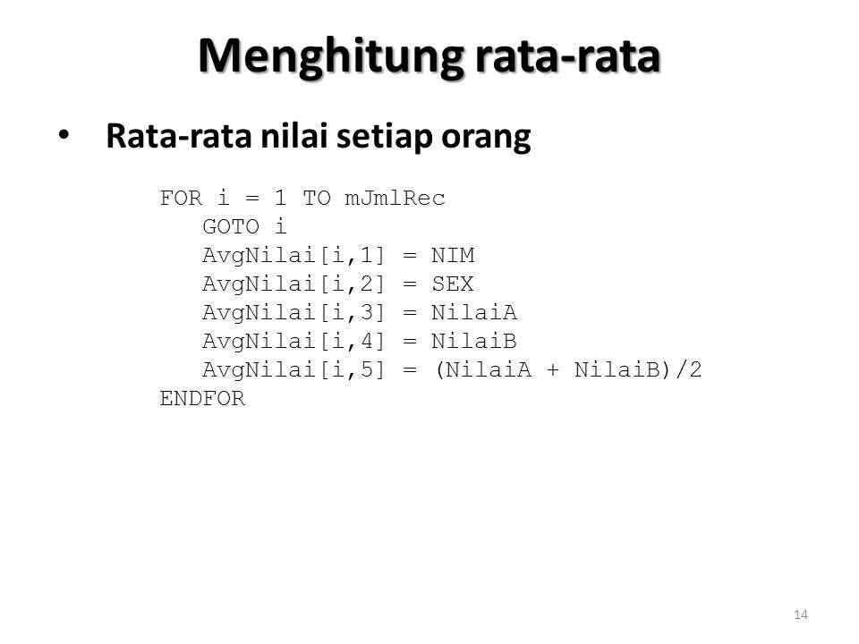 Menghitung rata-rata Rata-rata nilai setiap orang FOR i = 1 TO mJmlRec GOTO i AvgNilai[i,1] = NIM AvgNilai[i,2] = SEX AvgNilai[i,3] = NilaiA AvgNilai[i,4] = NilaiB AvgNilai[i,5] = (NilaiA + NilaiB)/2 ENDFOR 14