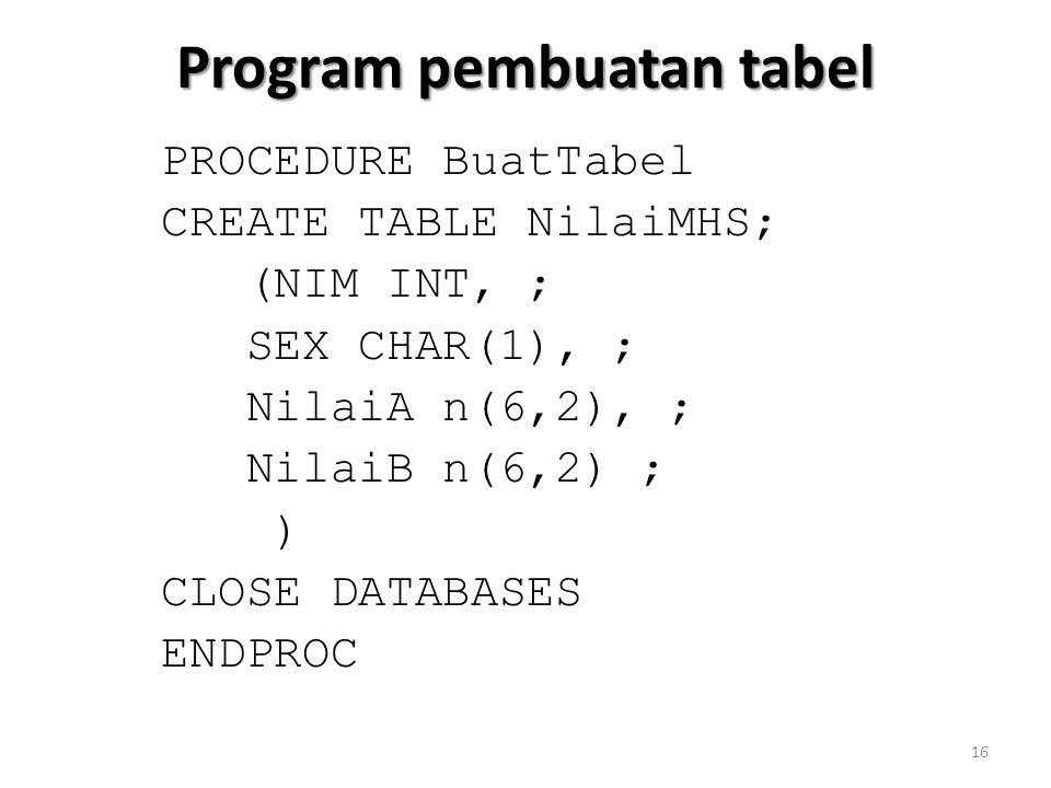 Program pembuatan tabel PROCEDURE BuatTabel CREATE TABLE NilaiMHS; (NIM INT, ; SEX CHAR(1), ; NilaiA n(6,2), ; NilaiB n(6,2) ; ) CLOSE DATABASES ENDPROC 16