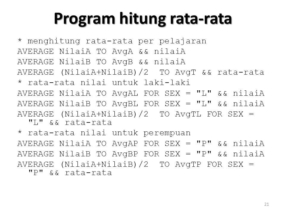 Program hitung rata-rata * menghitung rata-rata per pelajaran AVERAGE NilaiA TO AvgA && nilaiA AVERAGE NilaiB TO AvgB && nilaiA AVERAGE (NilaiA+NilaiB)/2 TO AvgT && rata-rata * rata-rata nilai untuk laki-laki AVERAGE NilaiA TO AvgAL FOR SEX = L && nilaiA AVERAGE NilaiB TO AvgBL FOR SEX = L && nilaiA AVERAGE (NilaiA+NilaiB)/2 TO AvgTL FOR SEX = L && rata-rata * rata-rata nilai untuk perempuan AVERAGE NilaiA TO AvgAP FOR SEX = P && nilaiA AVERAGE NilaiB TO AvgBP FOR SEX = P && nilaiA AVERAGE (NilaiA+NilaiB)/2 TO AvgTP FOR SEX = P && rata-rata 21