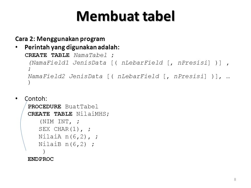 Membuat tabel Cara 2: Menggunakan program Perintah yang digunakan adalah: CREATE TABLE NamaTabel ; (NamaField1 JenisData [( nLebarField [, nPresisi] )], ; NamaField2 JenisData [( nLebarField [, nPresisi] )], … ) Contoh: PROCEDURE BuatTabel CREATE TABLE NilaiMHS; (NIM INT, ; SEX CHAR(1), ; NilaiA n(6,2), ; NilaiB n(6,2) ; ) ENDPROC 8