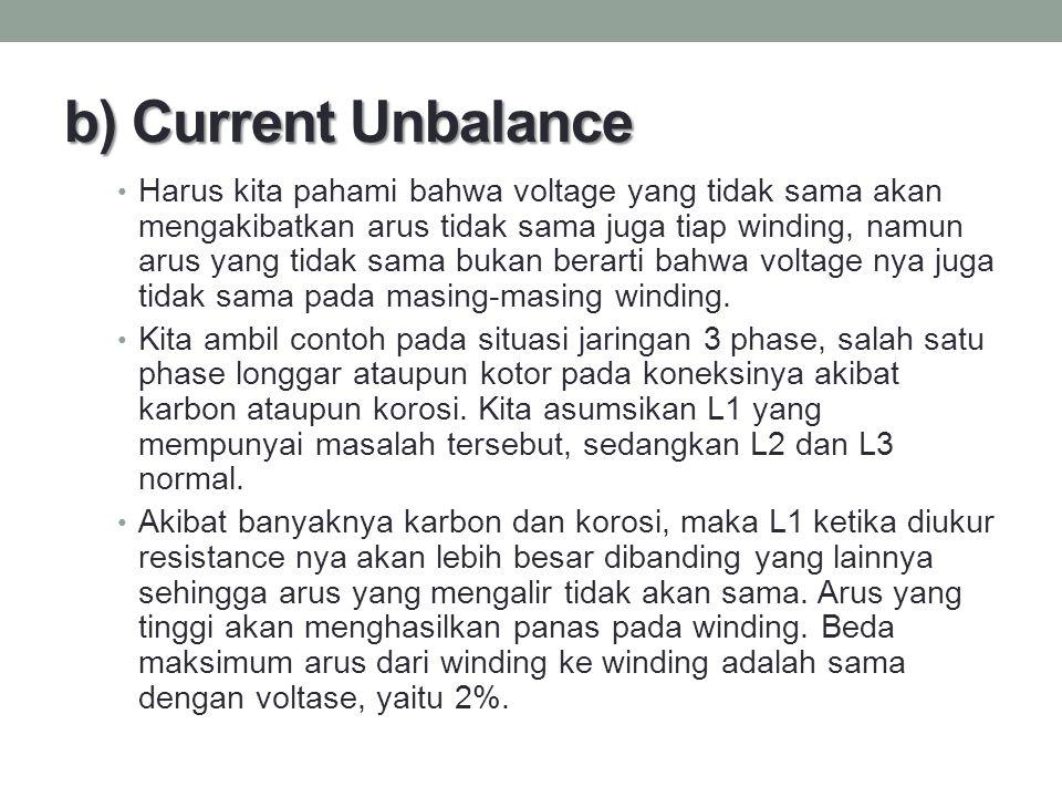 b) Current Unbalance Harus kita pahami bahwa voltage yang tidak sama akan mengakibatkan arus tidak sama juga tiap winding, namun arus yang tidak sama