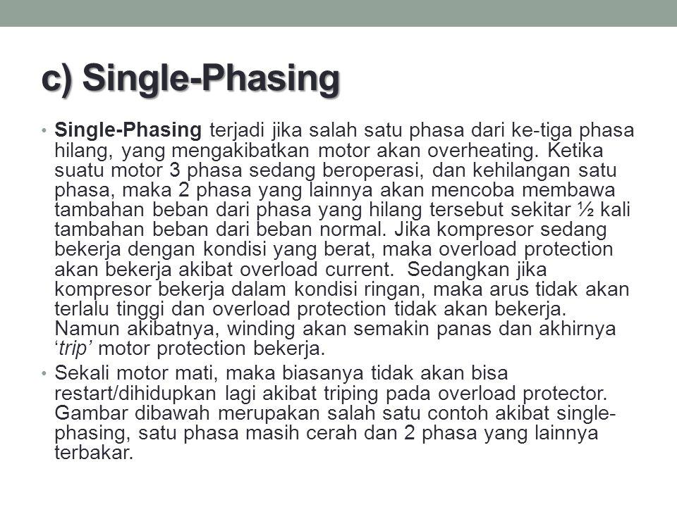 c) Single-Phasing Single-Phasing terjadi jika salah satu phasa dari ke-tiga phasa hilang, yang mengakibatkan motor akan overheating. Ketika suatu moto