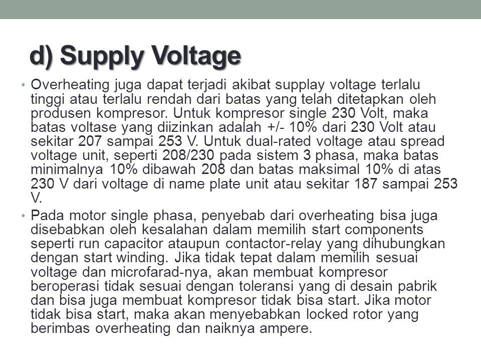 d) Supply Voltage Overheating juga dapat terjadi akibat supplay voltage terlalu tinggi atau terlalu rendah dari batas yang telah ditetapkan oleh produ