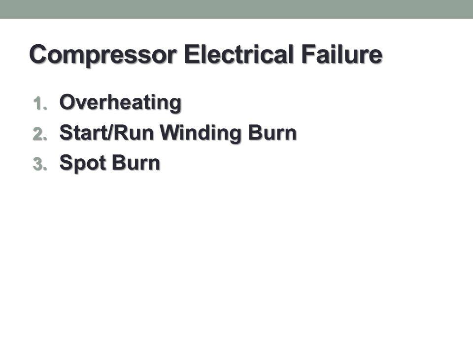 Compressor Electrical Failure 1. Overheating 2. Start/Run Winding Burn 3. Spot Burn