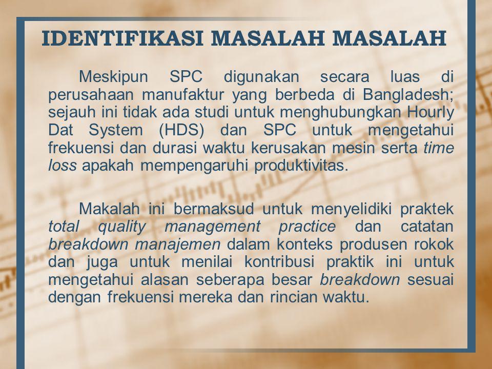 Meskipun SPC digunakan secara luas di perusahaan manufaktur yang berbeda di Bangladesh; sejauh ini tidak ada studi untuk menghubungkan Hourly Dat Syst