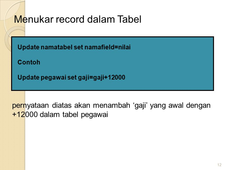 12 Menukar record dalam Tabel Update namatabel set namafield=nilai Contoh Update pegawai set gaji=gaji+12000 pernyataan diatas akan menambah 'gaji' yang awal dengan +12000 dalam tabel pegawai