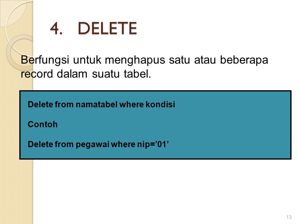 4.DELETE 13 Berfungsi untuk menghapus satu atau beberapa record dalam suatu tabel.
