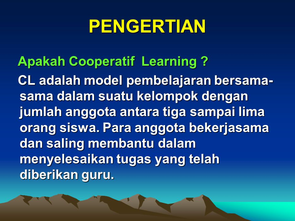 The Basic Principles of Cooperative Learning 1.Positive Interdependence 2.Individual Accountability 3.Simultaneous Interaction 4.Equal participation 5.Face to Face Interaction 6.Social Skill 7.Group Processing