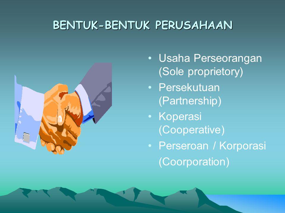 BENTUK-BENTUK PERUSAHAAN Usaha Perseorangan (Sole proprietory) Persekutuan (Partnership) Koperasi (Cooperative) Perseroan / Korporasi (Coorporation)