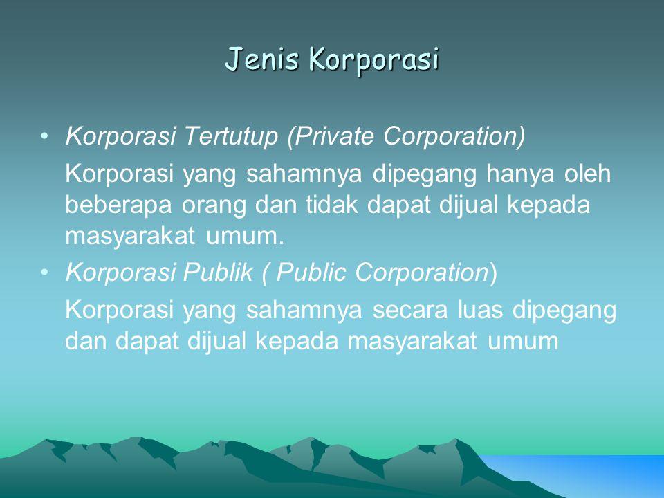 Jenis Korporasi Korporasi Tertutup (Private Corporation) Korporasi yang sahamnya dipegang hanya oleh beberapa orang dan tidak dapat dijual kepada masy