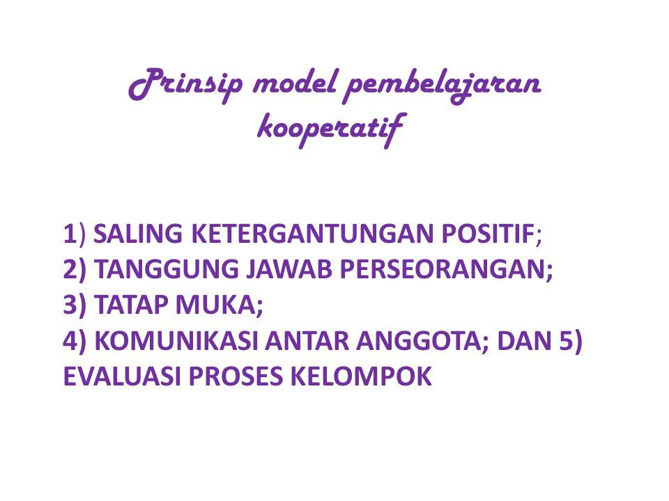1) SALING KETERGANTUNGAN POSITIF; 2) TANGGUNG JAWAB PERSEORANGAN; 3) TATAP MUKA; 4) KOMUNIKASI ANTAR ANGGOTA; DAN 5) EVALUASI PROSES KELOMPOK Prinsip model pembelajaran kooperatif