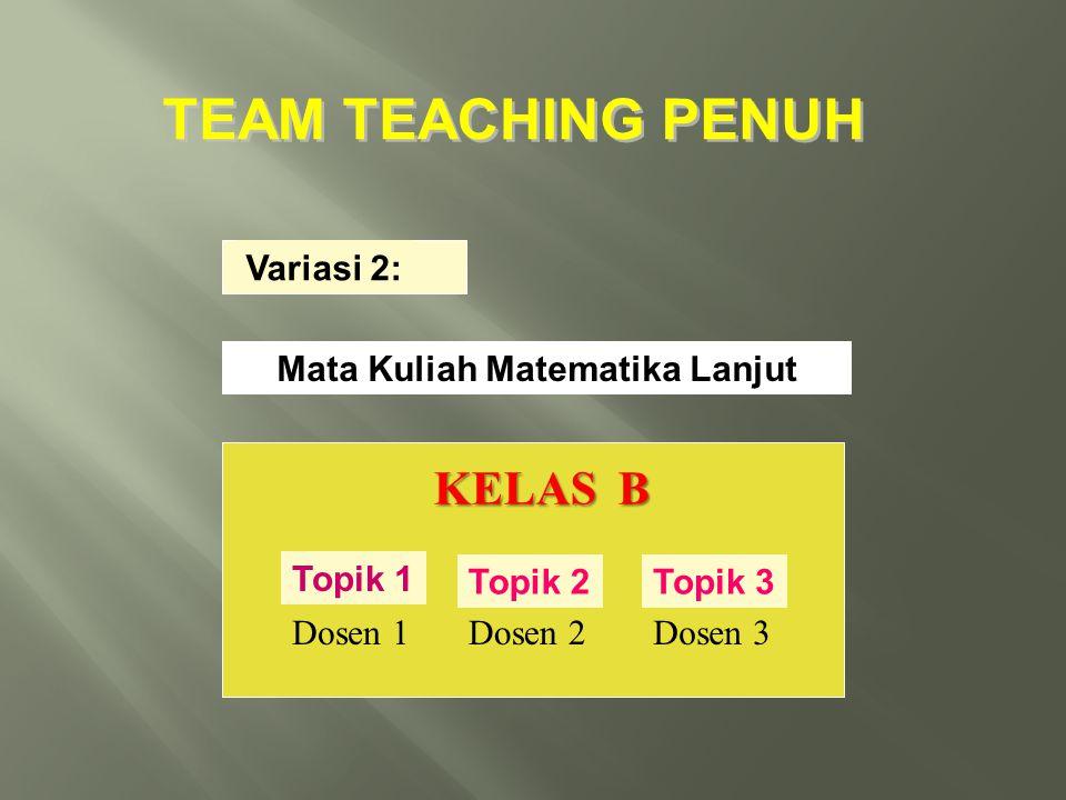 Variasi 2: Mata Kuliah Matematika Lanjut KELAS B Topik 1 Dosen 1 Topik 2 Dosen 2 Topik 3 Dosen 3