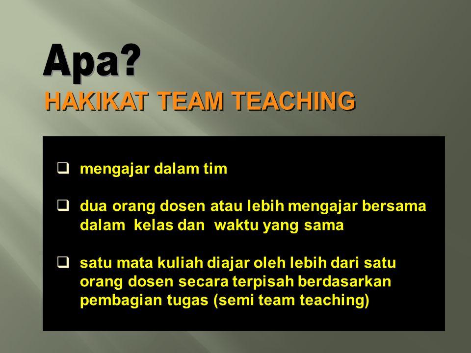  mengajar dalam tim  dua orang dosen atau lebih mengajar bersama dalam kelas dan waktu yang sama  satu mata kuliah diajar oleh lebih dari satu oran