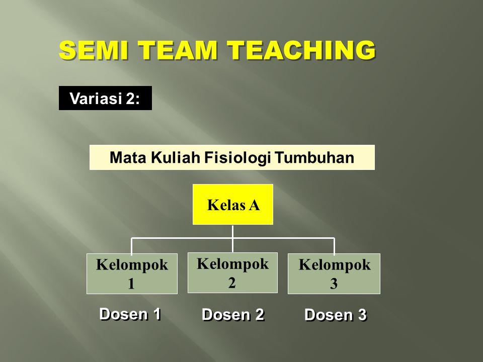 Variasi 2: Mata Kuliah Fisiologi Tumbuhan Kelompok 1 Dosen 1 Kelas A Dosen 2 Kelompok 2 Dosen 3 Kelompok 3