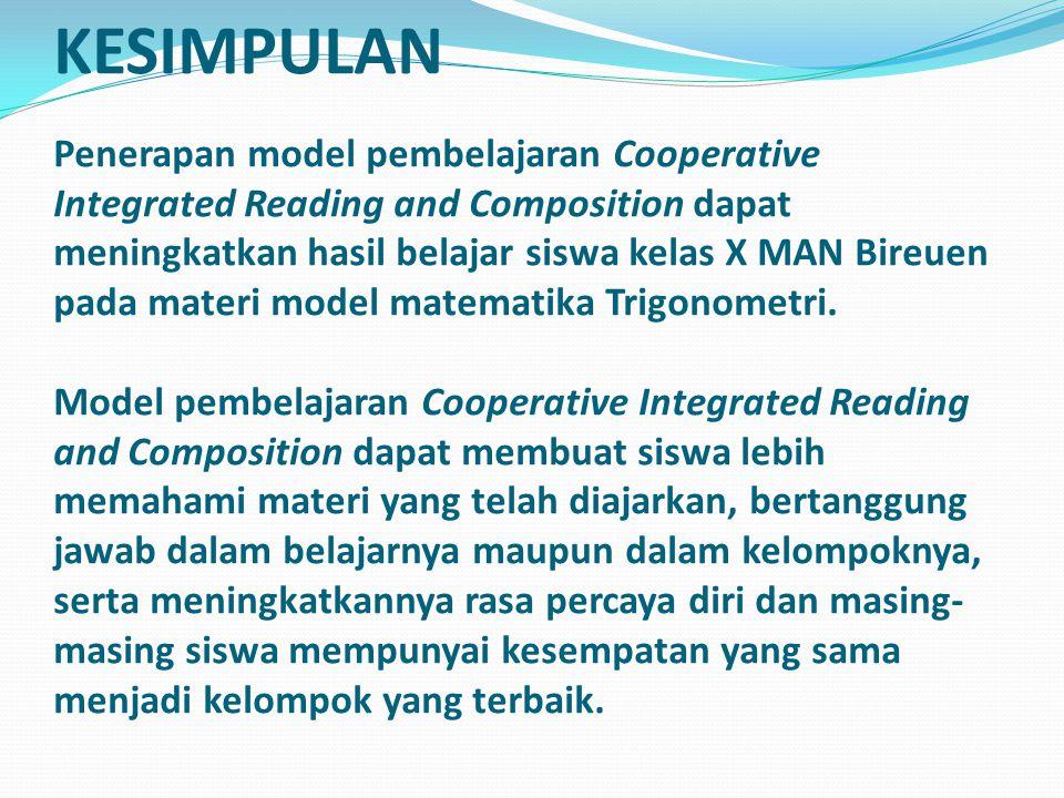 KESIMPULAN Penerapan model pembelajaran Cooperative Integrated Reading and Composition dapat meningkatkan hasil belajar siswa kelas X MAN Bireuen pada materi model matematika Trigonometri.