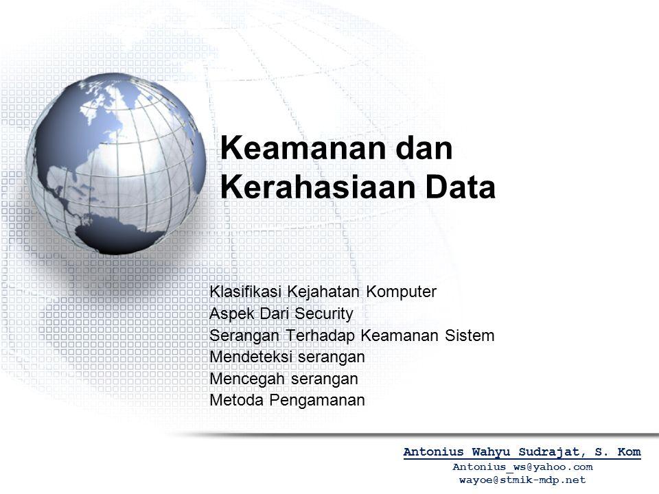 Keamanan dan Kerahasiaan Data Klasifikasi Kejahatan Komputer Aspek Dari Security Serangan Terhadap Keamanan Sistem Mendeteksi serangan Mencegah serang