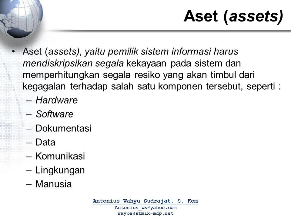 Aset (assets) Aset (assets), yaitu pemilik sistem informasi harus mendiskripsikan segala kekayaan pada sistem dan memperhitungkan segala resiko yang a