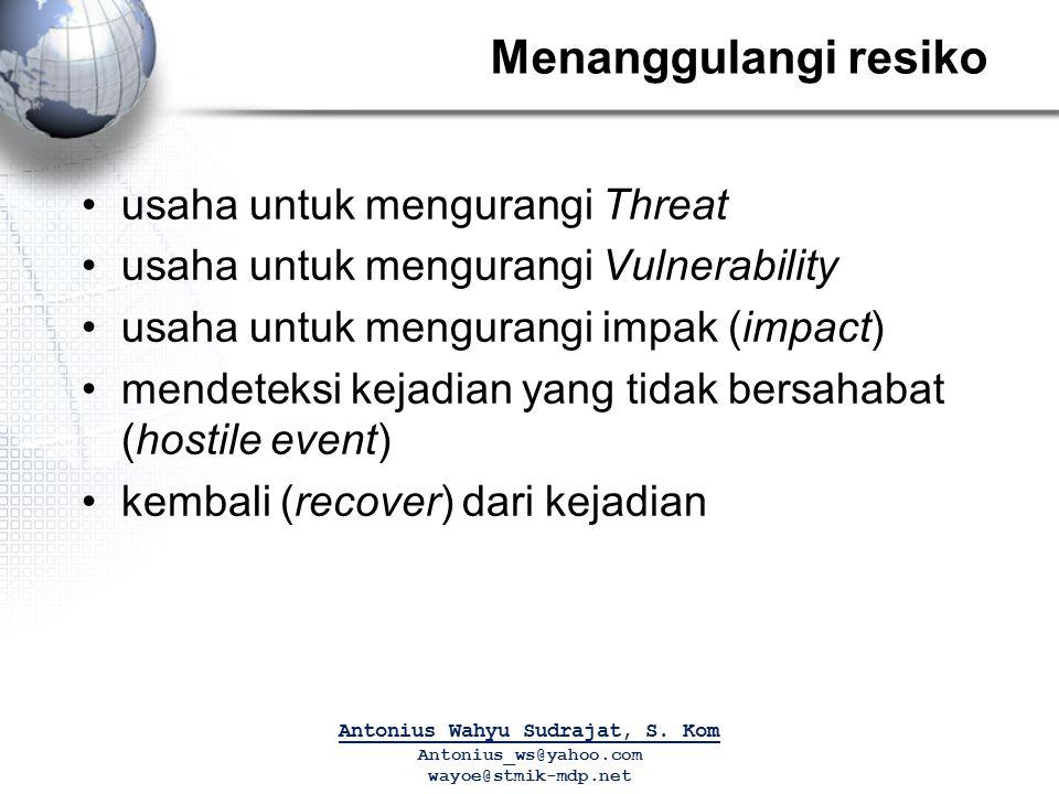 Menanggulangi resiko usaha untuk mengurangi Threat usaha untuk mengurangi Vulnerability usaha untuk mengurangi impak (impact) mendeteksi kejadian yang