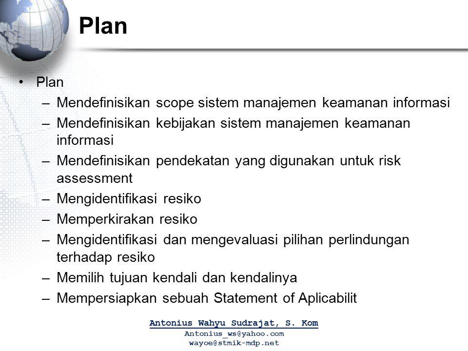 Plan –Mendefinisikan scope sistem manajemen keamanan informasi –Mendefinisikan kebijakan sistem manajemen keamanan informasi –Mendefinisikan pendekata