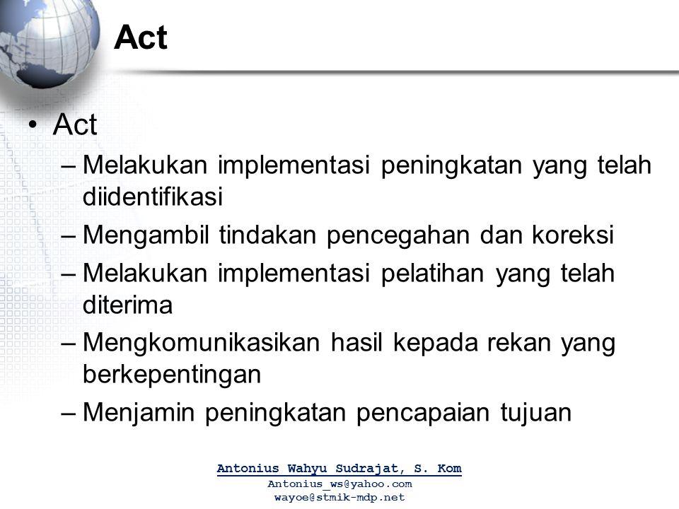 Act –Melakukan implementasi peningkatan yang telah diidentifikasi –Mengambil tindakan pencegahan dan koreksi –Melakukan implementasi pelatihan yang te